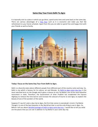 Same Day Tour From Delhi To Agra