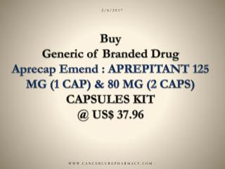 Buy Aprepitant 125 mg (1 cap) & 80 mg (2 caps) online @ Us$ 37.96