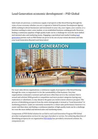 Lead Generation economic development – PSD Global