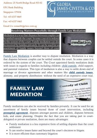 Resolving Matters Peacefully through Family Law Mediation