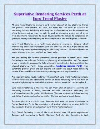 Superlative Rendering Services Perth at Euro Trend Plaster
