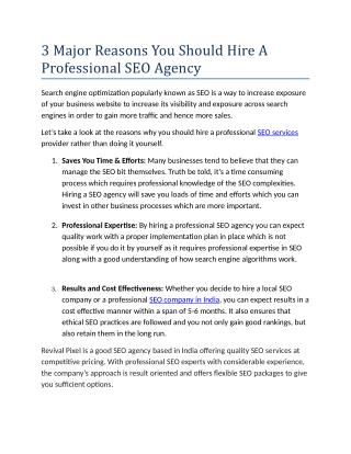3 Major Reasons You Should Hire A Professional SEO Agency