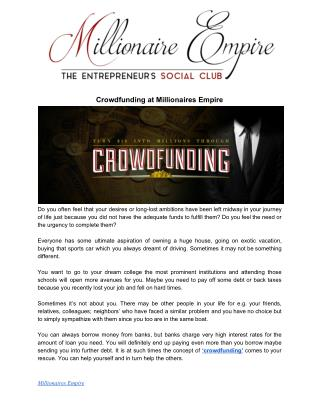 Crowdfunding at Millionaires Empire