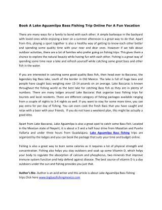 Book A Lake Aguamilpa Bass Fishing Trip Online For A Fun Vacation