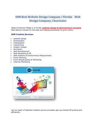 DIM: Best Website Design Company | Florida Web Design Company