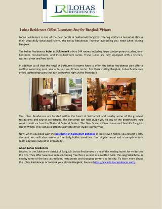 Lohas Residences Offers Luxurious Stay for Bangkok Visitors