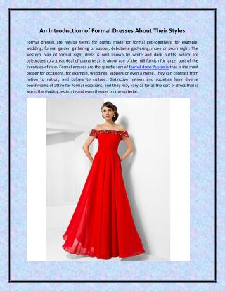 An Introduction of Formal Dresses About Their Styles