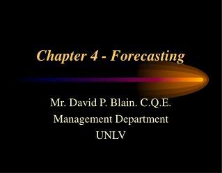 Chapter 4 - Forecasting