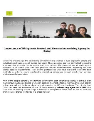 Get First-Class Advertising Solutions by Renowned Experts in Dubai