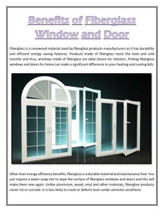 Benefits of Fiberglass Window and Door