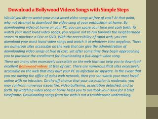 Download a Bollywood Videos Songs with Simple Steps