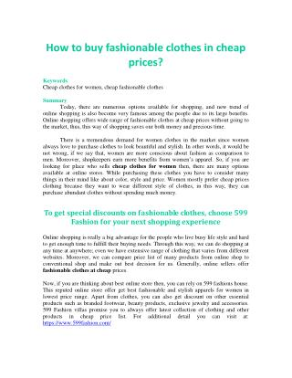How to buy fashionable clothes in cheap prices?