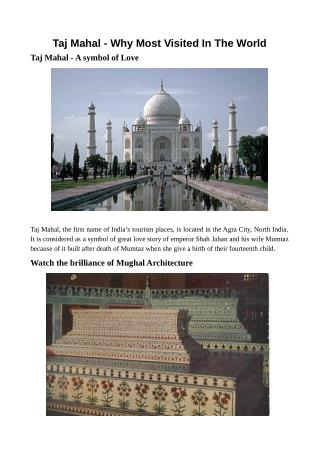 Taj Mahal - Why Most Visited In The World