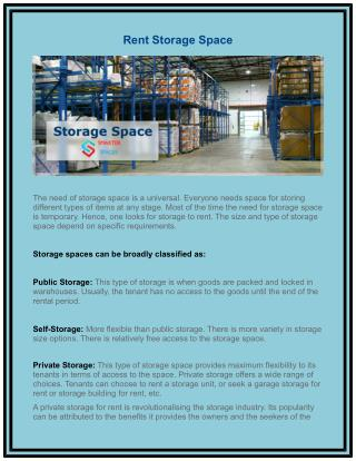 Rent Storage Space