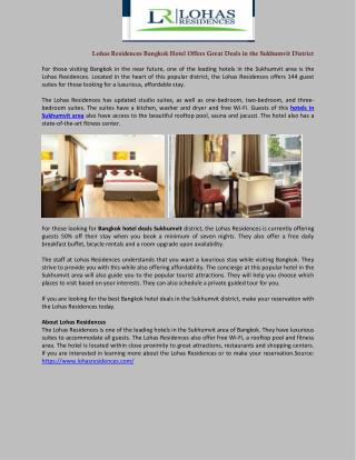 Lohas Residences Bangkok Hotel Offers Great Deals in the Sukhumvit District
