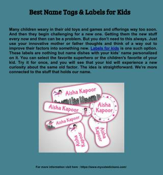 Best Name Tags & Labels for Kids