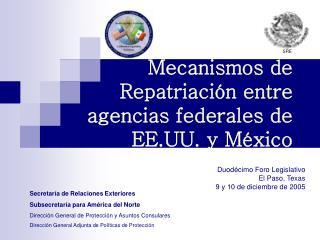 Mecanismos de Repatriaci n entre  agencias federales de EE.UU. y M xico