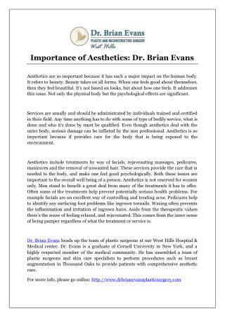 Importance of Aesthetics: Dr. Brian Evans