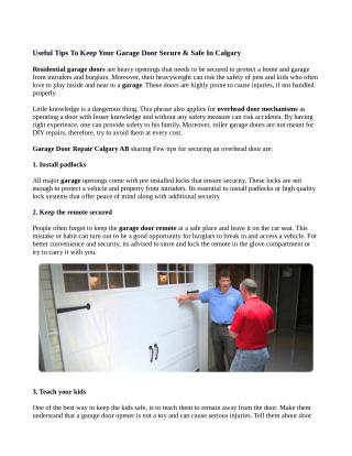 Useful Tips To Keep Your Garage Door Secure & Safe in Calgary