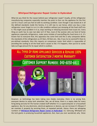 Whirlpool Refrigerator Repair Center in Hyderabad