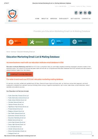 Education Marketing Mailing Database