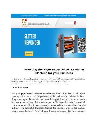 Selecting the Right Paper Slitter Rewinder Machine for your Business