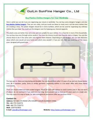 Buy Plastics Clothes Hangers For Your Wardrobe