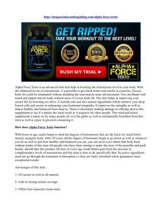 Alpha Force Testo Reviews- 100% Natural Ingredients, Guidance...