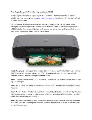 Printer Support:Change the Printer Cartridge on a Canon MP160