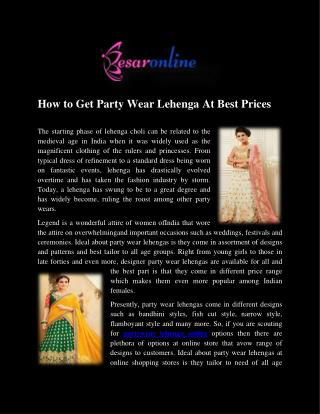 Buy Partywear Lehenga Online in UK