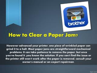 How to Clear a Paper Jam?
