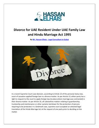 Divorce for UAE Resident Under UAE Family Law and Hindu Marriage Act 1995