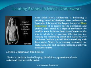 Leading Brands In Men's Underwear