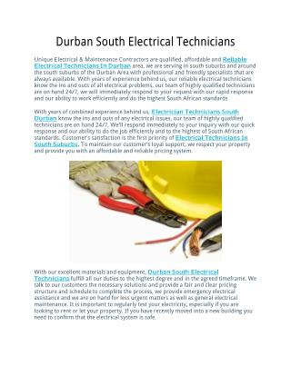 Durban South Electrical Technicians