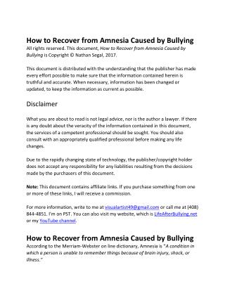 How to Recover from Amnesia Caused by Bullying