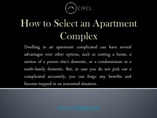 How to Choose an Apartment Complex | CIRCL