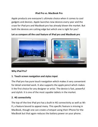 Learn the difference between IPad Pro vs. MacBook Pro