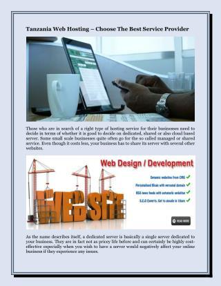 Tanzania Web Hosting – Choose The Best Service Provider