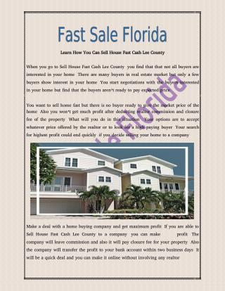 Tips of Sell House Fast Cash Lee County