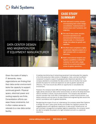 Data center design and migration for it equipment manufacturer