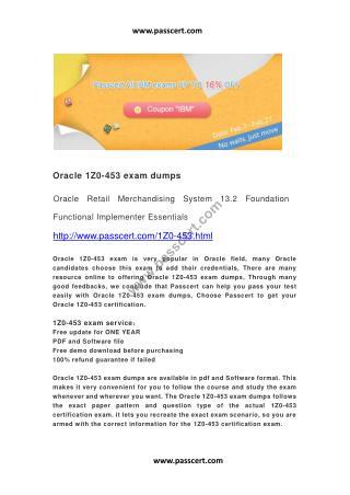 Oracle 1Z0-453 exam dumps