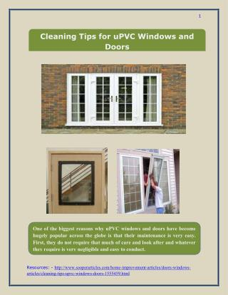 Cleaning Tips for uPVC Windows and Doors