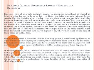 Picking a Clinical Negligence Lawyer - How you can Determine