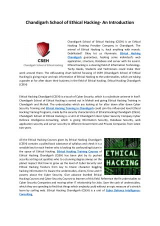 6 Months Ethical Hacking Training in Chandigarh