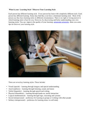 What is your Learning Style ? Discover Your Learning Style