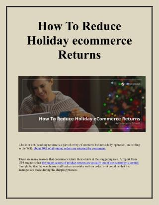 How To Reduce Holiday eCommerce Returns | imedia designs