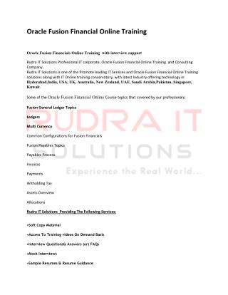 Oracle Fusion Financials Training in Hyderabad - rudraitsolutions
