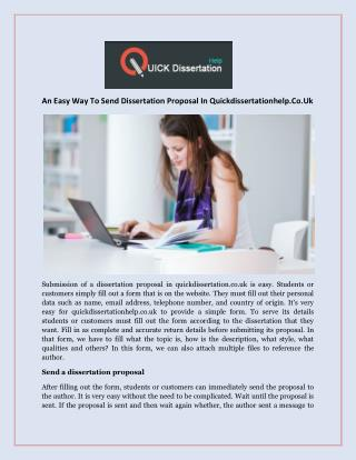 An Easy Way To Send Dissertation Proposal In Quickdissertationhelp.Co.Uk