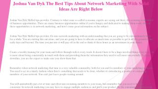 Joshua Van Dyk Find Success in Network Marketing with These Great Tips