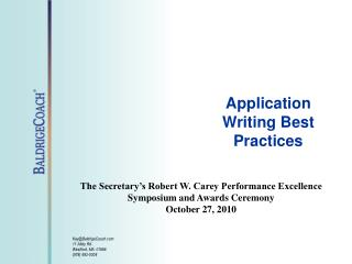 Application Writing Best Practices